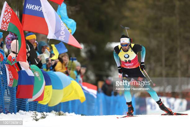Martin Fourcade of France competes during the Men 20 km Individual Competition at the IBU World Championships Biathlon Antholz-Anterselva on February...