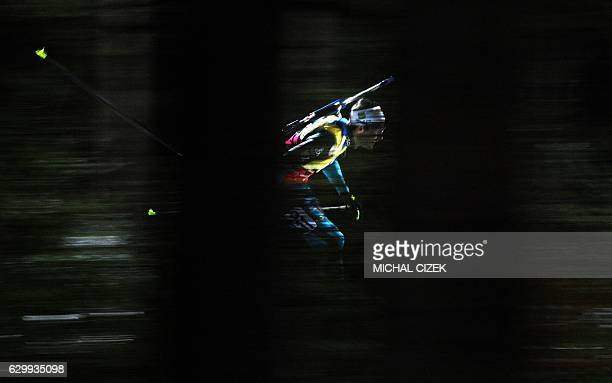 Martin Fourcade of France competes during the Men's 10Km sprint competition of IBU World Cup Biathlon in Nove Mesto, Czech Republic, on December 15,...