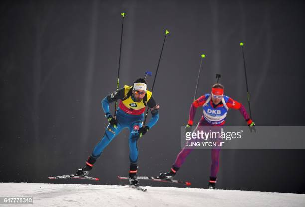 TOPSHOT Martin Fourcade of France competes during the men's 125 km pursuit event of the Biathlon World Cup at the Alpensia Biathlon Centre in...