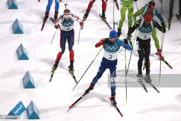 Martin Fourcade of France competes during the Men's 15km Mass Start Biathlon on day nine of the PyeongChang 2018 Winter Olympic Games at Alpensia...