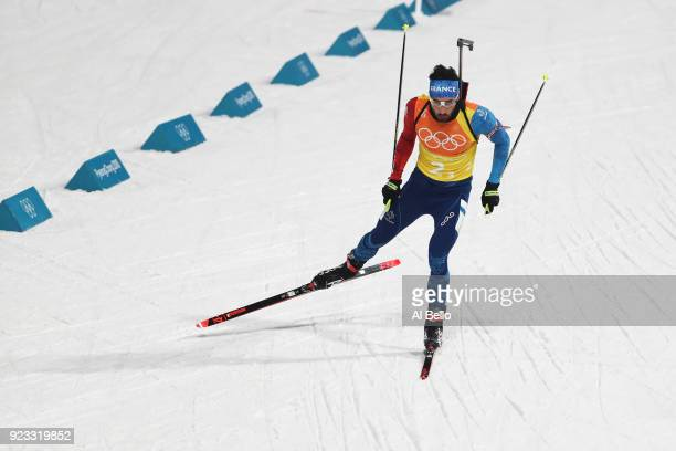 Martin Fourcade of France competes during the Men's 4x7.5km Biathlon Relay on day 14 of the PyeongChang 2018 Winter Olympic Games at Alpensia...