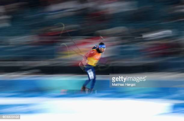 Martin Fourcade of France competes during the Men's 4x75km Biathlon Relay on day 14 of the PyeongChang 2018 Winter Olympic Games at Alpensia Biathlon...