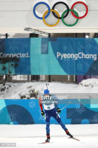 Martin Fourcade of France competes during the Men's Biathlon 125km Pursuit on day three of the PyeongChang 2018 Winter Olympic Games at Alpensia...