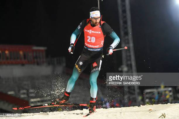 Martin Fourcade of France competes in the 20 km individual event at the Biathlon IBU World Cup in Ostersund, Sweden on December 4, 2019. / Sweden OUT