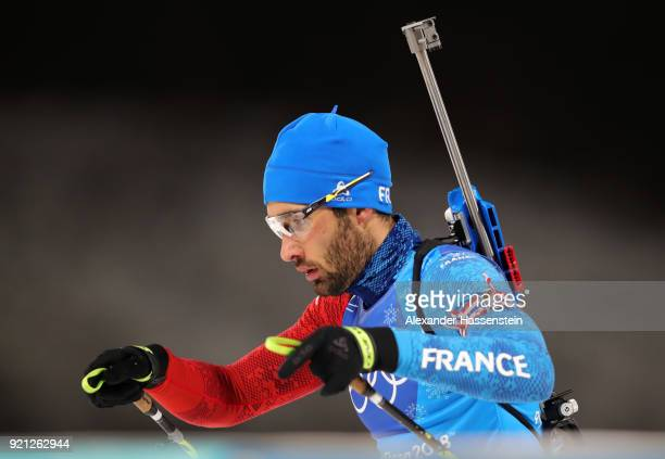 Martin Fourcade of France competes in the final leg during the Biathlon 2x6km Women 2x75km Men Mixed Relay on day 11 of the PyeongChang 2018 Winter...