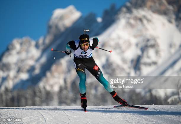 Martin Fourcade of France competes in the IBU Biathlon World Cup Men's 10 km Sprint on December 14 2018 in Hochfilzen Austria