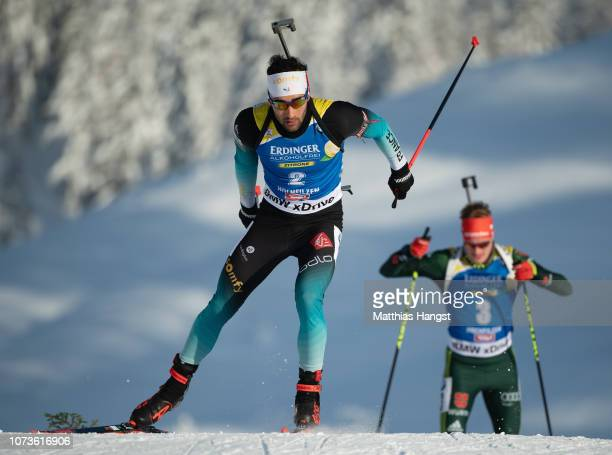 Martin Fourcade of France competes in the IBU Biathlon World Cup Men's 125 km Pursuit on December 15 2018 in Hochfilzen Austria