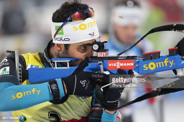 Martin Fourcade of France competes in the Men 125km Pursuit during the BMW IBU World Cup Biathlon 2017 a test event for PyeongChang 2018 Winter...