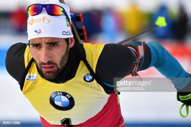 Martin Fourcade of France competes in the Men 15 km Mass Start Competition of the IBU World Cup Biathlon in Anterselva on January 21, 2018. Martin...