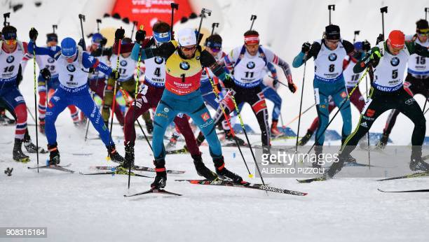Martin Fourcade of France competes in the Men 15 km Mass Start Competition of the IBU World Cup Biathlon in Anterselva on January 21 2018 Martin...