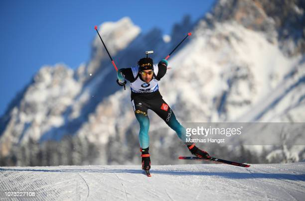 Martin Fourcade of France competes in the Men's 10km Sprint during the IBU World Cup at the Biathlon Stadium Hochfilzen on December 14 2018 in...