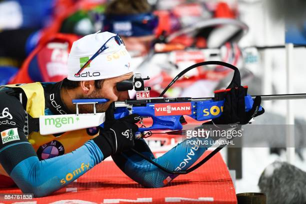 Martin Fourcade of France competes in the men's 125 km pursuit event at the IBU World Cup Biathlon on December 3 2017 in Ostersund Sweden News Agency...