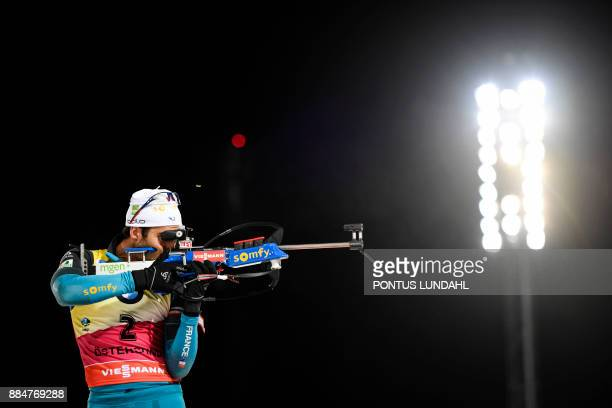 Martin Fourcade of France competes in the men's 125 km pursuit event at the IBU World Cup Biathlon in Ostersund Sweden December 3 2017 / AFP PHOTO /...
