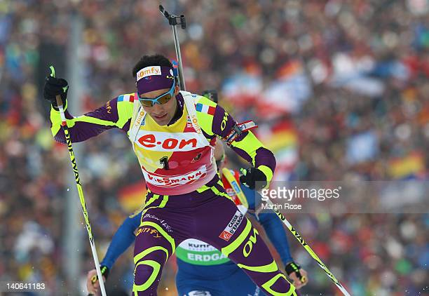 Martin Fourcade of France competes in the Men's 12,5km Pursuit during the IBU Biathlon World Championships at Chiemgau Arena on March 4, 2012 in...