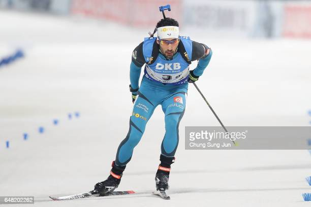 Martin Fourcade of France competes in the Men's 4x75 Km Relay during the BMW IBU World Cup Biathlon 2017 test event for PyeongChang 2018 Winter...