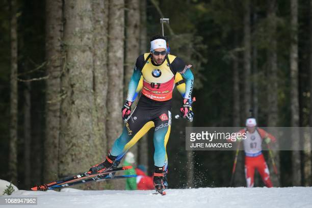 Martin Fourcade of France competes to win the Men's 20 km Individual competition in Pokljuka in the Julian Alps in northwestern Slovenia on December...
