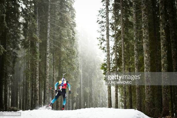 TOPSHOT Martin Fourcade of France competes to win the Men's 20 km Individual competition in Pokljuka in the Julian Alps in northwestern Slovenia on...
