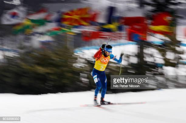 Martin Fourcade of France during the Mens Biathlon 4x75km Relay at Alpensia Biathlon Centre on February 23 2018 in Pyeongchanggun South Korea