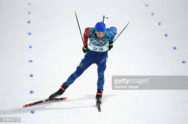 Martin Fourcade of France finishes during the Men's 20km Individual Biathlon at Alpensia Biathlon Centre on February 15, 2018 in Pyeongchang-gun,...