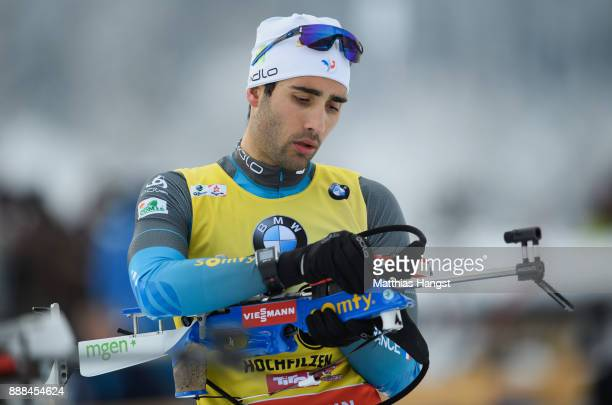 Martin Fourcade of France in action at the shooting range prior to the 10 km Men's Sprint during the BMW IBU World Cup Biathlon on December 8 2017 in...
