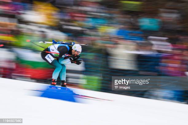 Martin Fourcade of France in action competes during the Men 4x7.5 km Relay Competition at the BMW IBU World Cup Biathlon Ruhpolding on January 18,...