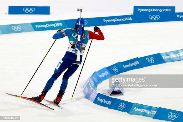 Martin Fourcade of France in action during the Biathlon Men's 10km Sprint at Alpensia Biathlon Centre on February 11 2018 in Pyeongchanggun South...