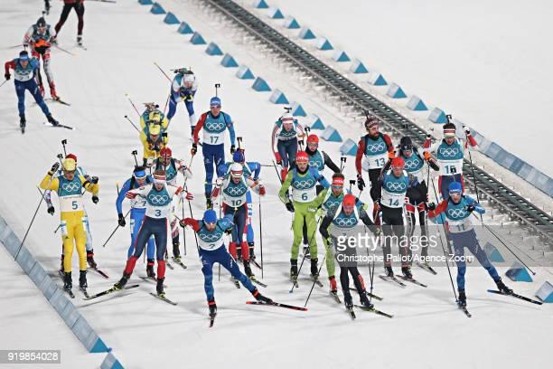 Martin Fourcade of France in action during the Biathlon Men's 15km Mass Start at Alpensia Biathlon Centre on February 18 2018 in Pyeongchanggun South...