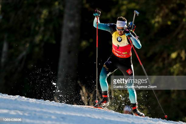 Martin Fourcade of France in action during the IBU Biathlon World Cup Men's Sprint on December 7 2018 in Pokljuka Slovenia