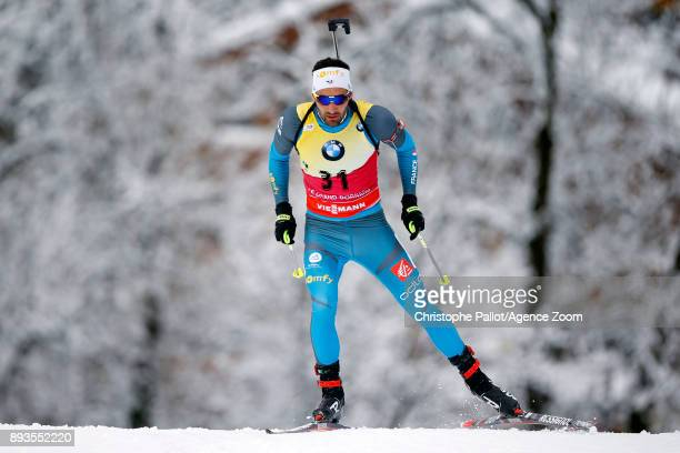 Martin Fourcade of France in action during the IBU Biathlon World Cup Men's Sprint on December 15, 2017 in Le Grand Bornand, France.