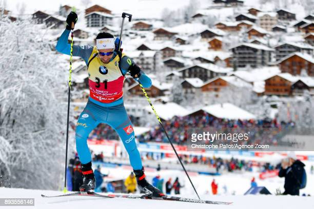 Martin Fourcade of France in action during the IBU Biathlon World Cup Men's Sprint on December 15 2017 in Le Grand Bornand France