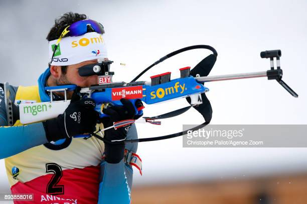 Martin Fourcade of France in action during the IBU Biathlon World Cup Men's and Women's Pursuit on December 16, 2017 in Le Grand Bornand, France.