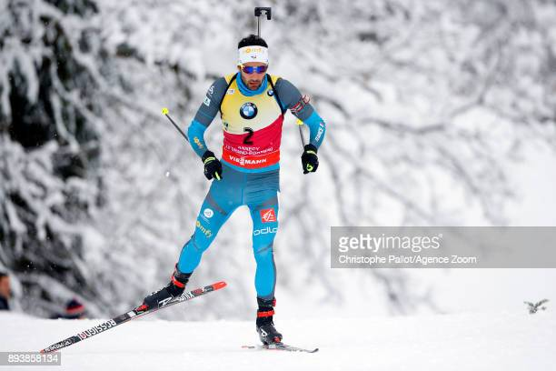 Martin Fourcade of France in action during the IBU Biathlon World Cup Men's and Women's Pursuit on December 16 2017 in Le Grand Bornand France