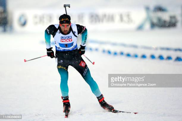 Martin Fourcade of France in action during the IBU Biathlon World Championships Men's and Women's Mixed Relay on March 7, 2019 in Oestersund, Sweden.