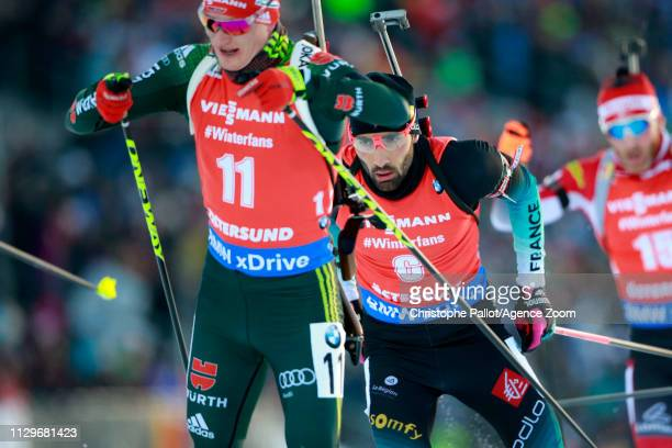 Martin Fourcade of France in action during the IBU Biathlon World Championships Men's and Women's Pursuit on March 10 2019 in Oestersund Sweden