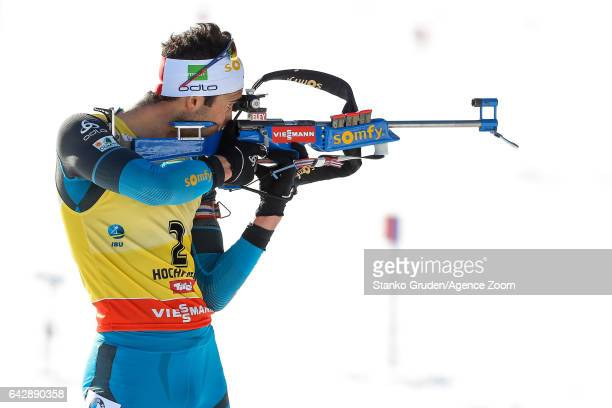 Martin Fourcade of France in action during the IBU Biathlon World Championships Men's and Women's Mass Start on February 19 2017 in Hochfilzen Austria