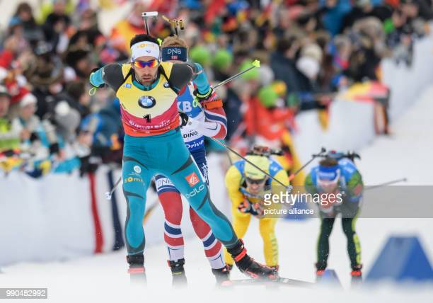 Martin Fourcade of France in action during the men's mass start event of the Biathlon World Cup at the Chiemgau Arena in Ruhpolding Germany 14...