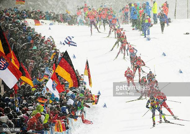 Martin Fourcade of France leads the field during the Men's 15km Biathlon race of the Ruhpolding IBU Biathlon World Cup on January 16 2016 in...