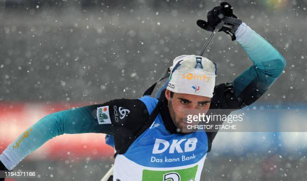 Martin Fourcade of France leaves the shooting range during the men's 4x75km relay event of the IBU Biathlon World Cup in Ruhpolding southern Germany...