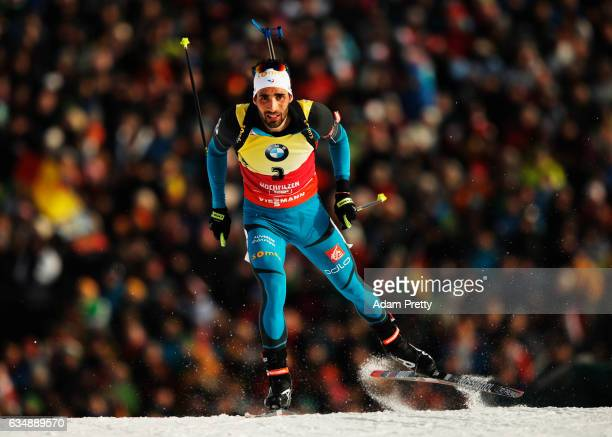 Martin Fourcade of France on his way to winning gold in the Men's 12.5km pursuit competition of the IBU World Championships Biathlon 2017 at the...