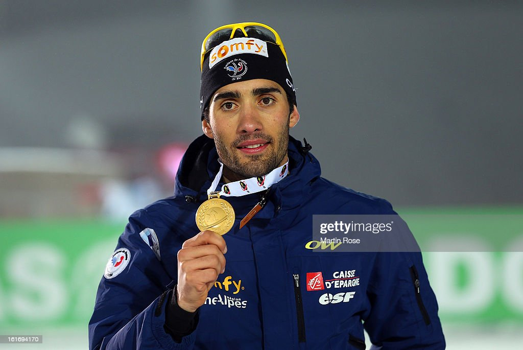 Martin Fourcade of France poses with the gold medal after the Men's 20km Individual during the IBU Biathlon World Championships at Vysocina Arena on February 14, 2013 in Nove Mesto na Morave, Czech Republic.