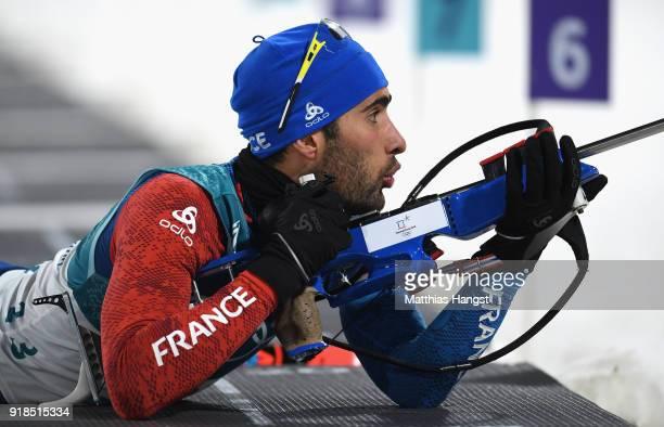 Martin Fourcade of France shoots during the Men's 20km Individual Biathlon at Alpensia Biathlon Centre on February 15 2018 in Pyeongchanggun South...
