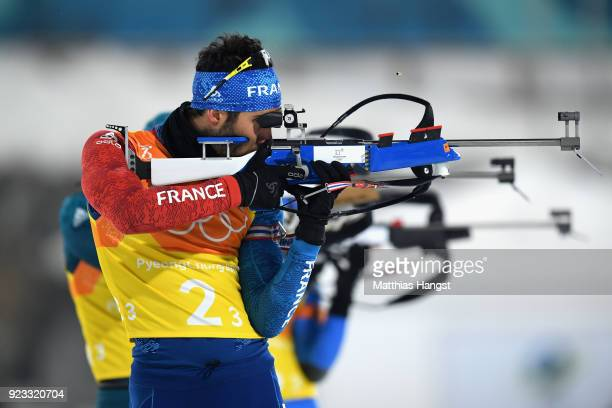 Martin Fourcade of France shoots during the Men's 4x75km Biathlon Relay on day 14 of the PyeongChang 2018 Winter Olympic Games at Alpensia Biathlon...