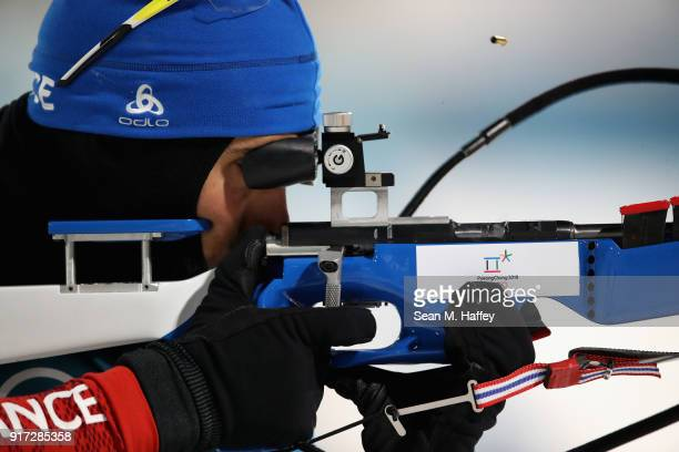 Martin Fourcade of France shoots during the Men's Biathlon 125km Pursuit on day three of the PyeongChang 2018 Winter Olympic Games at Alpensia...