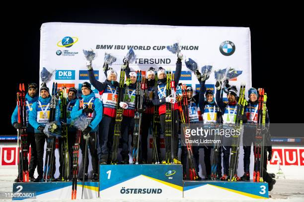 Martin Fourcade of France Simon Desthieux of France Quentin Fillion Maillet of France Emilien Jacquelin of France Johannes Dale of Norway Erlend...