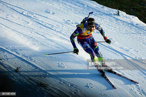 Martin Fourcade of France takes 1st place during the IBU Biathlon World Cup Men's and Women's Pursuit on December 12 2015 in Hochfilzen Austria