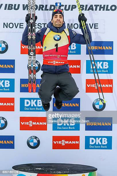 Martin Fourcade of France takes 1st place during the IBU Biathlon World Cup Men's and Women's Mass Start on December 18 2016 in Nove Mesto na Morave...