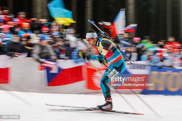 Martin Fourcade of France takes 1st place during the IBU Biathlon World Cup Men's and Women's Mass Start on December 18, 2016 in Nove Mesto na...