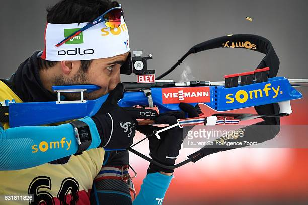 Martin Fourcade of France takes 1st place during the IBU Biathlon World Cup Men's Sprint on January 13 2017 in Ruhpolding Germany