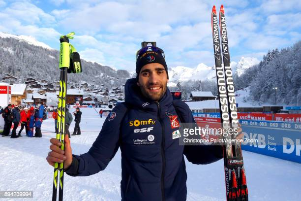 Martin Fourcade of France takes 1st place during the IBU Biathlon World Cup Men's and Women's Mass Start on December 17 2017 in Le Grand Bornand...