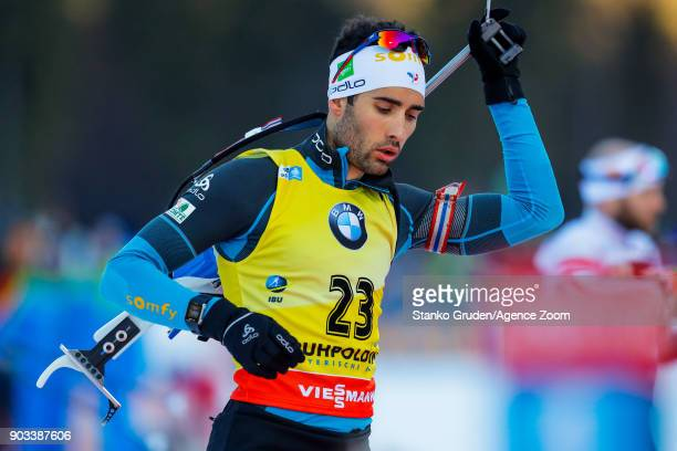 Martin Fourcade of France takes 1st place during the IBU Biathlon World Cup Men's Individual on January 10 2018 in Ruhpolding Germany